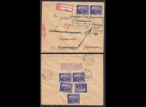 Generalgouvernement 1943 R-Brief aus Warschau SW30 mit Nachsendungen (28750