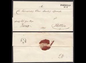 Preussen Umschlag ca. 1825 PASEWALK L2 nach Stettin (28699