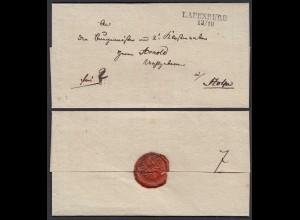 Preussen Umschlag ca. 1825 LAUENBURG L2 nach Stolpe (28697