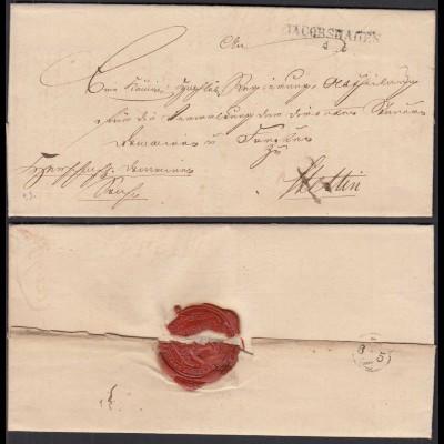 Preussen Umschlag ca. 1825 JACOBSHAGEN L2 nach Stettin (28696