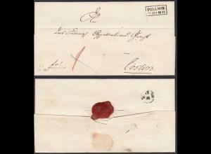Pommern Umschlag ca. 1850 POLLNOW R2 nach Cöslin (28694