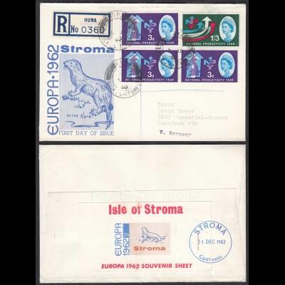 STROMA TO HUNA 1962 EUROPA Souvenier Sheet R-Cover to Germany (27134