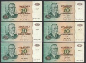 FINNLAND - FINLAND 6 Stück á 10 MARKKA Litt.A 1980 PICK 112 versch.Signaturen