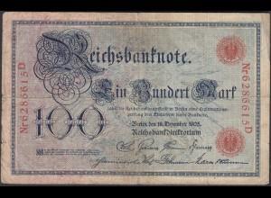 Reichsbanknote 100 Mark 1905 Ro 23b Pick 24 UDR S Serie D Erh. F- (4-) (27272