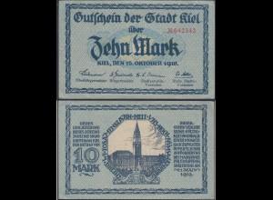 GERMANY - KIEL 10 Mark NOTGELD 1918 AU (13325