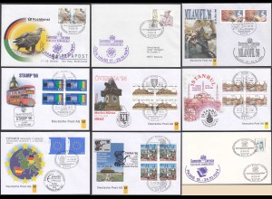 BRD BUND 9 Stück AMTLICHER AUSSTELLUNGSBRIEFE der Deutschen Post (87013
