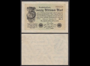 20 Millionen Mark 1923 Ro 107e Pick 108 aXF (2-) FZ: BH - BZ: 2 (29005