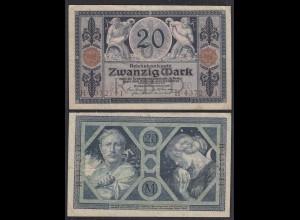 Reichsbanknote 20 Mark 1915 Ro 53 Pick 63 UDR: O Serie: H VF (3) (29007