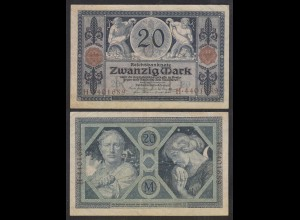 Reichsbanknote 20 Mark 1915 Ro 53 Pick 63 UDR: O Serie: H VF+ (3+) (29008