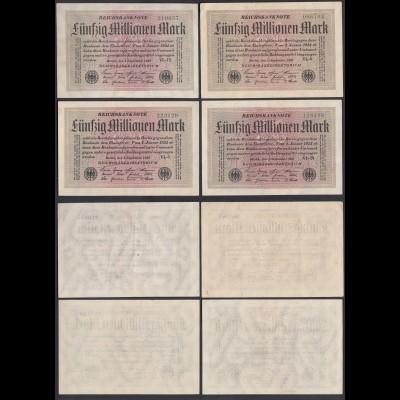 Reichsbanknote - 4 Stück á 50 Millionen Mark 1923 Ro 108e FZ: VL 6-stellig