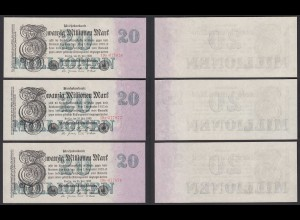 3 Stück á 20 Millionen Mark 1923 FZ:P BZ:19 Ro 96b Pick 97 aUNC (1-) Nr in Folge
