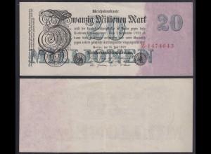 20 Millionen Mark 1923 Ro 96a Pick 97 Serie Z 7-stellig VF (3) (29065