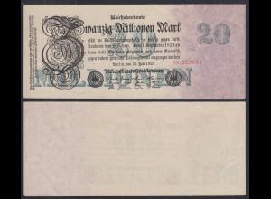 20 Millionen Mark 1923 Ro 96b Pick 97 FZ: N BZ: 8 W 6-stellig VF+ (3+) (29067