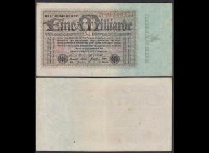 1 Milliarde Mark 1923 Ro 111a Pick 114 VF+ (3+) Serie D (29072