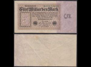 5 Milliarde Mark Banknote 1923 Ro 112a Pick 115 F/VF (3/4) Serie A (29075