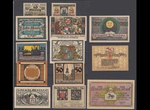 Germany 13 pieces of German Notgeld Banknotes 1918-1921 (29078
