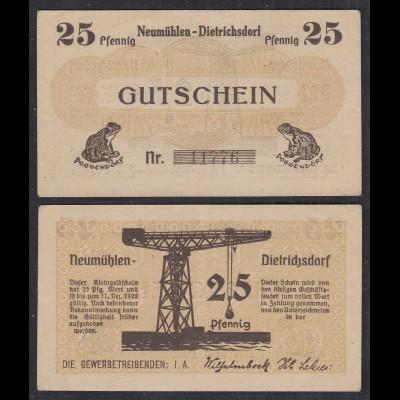 25 Pfennig Banknote Notgeld Gewerbetreibende Neumühlen-Dietrichsdorf (29088