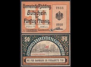 50 Pfennig Banknote Gutschein Notgeld Rödding 1920 (29087