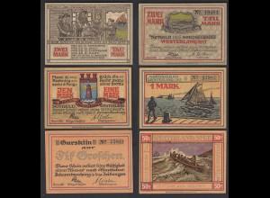 50 Pfg. 1 + 2 Mark Banknoten Notgeld Westerland/Sylt 1921 (29090
