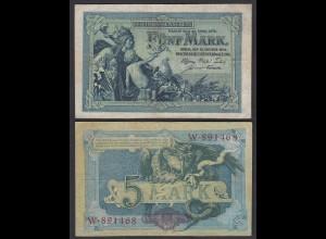 Reichsbanknote 5 Mark 1904 Serie W Ro 22a Pick 8 VF (3) 6-stellig (29091