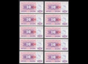 BOSNIA - HERZEGOVINA - 10 Stück á 10-tausend Dinara 24.12.1993 Pick 53h UNC (1)