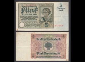 Rentenbankschein 5 Rentenmark 1926 Ro 164b F/VF Serie C (29177