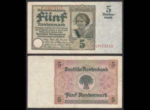 Rentenbankschein 5 Rentenmark 1926 Ro 164b Pick 169 VF (3) Serie E (29180