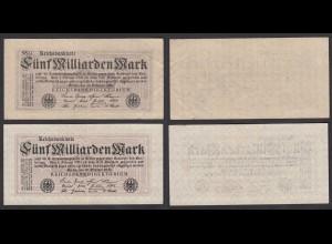2 Stück á 5-Milliarden Mark 1923 Ro 120d + e Pick 123 ca. VF (3) (29181