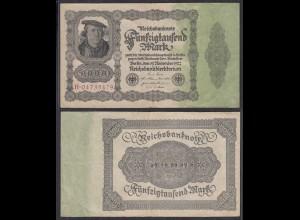 50.000 50000 Mark 1922 Ro 79b Pick 79 VF (3) Serie H 8-stellig rot (29226
