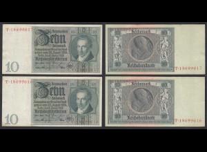 2 Stück á 10 Reichsmark im Paar 1929 D. Reich Ro 173a Udr F Serie T XF (2)