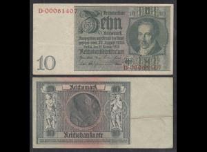 Reichsbanknote - 10 Reichsmark 1929 D. Reich Ro 173c VF (3) Serie D (29236