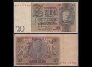 Deutschland - Germany 20 Reichsmark 1929 Ro 174a Pick 181 VF (3) Udr M - Serie F