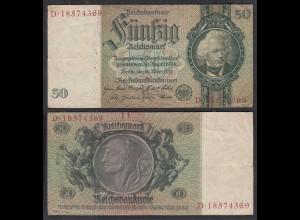 50 Reichsmark 1933 D. Reich Ro 175b Pick 182 VF- (3-) Udr K - Serie D (29240