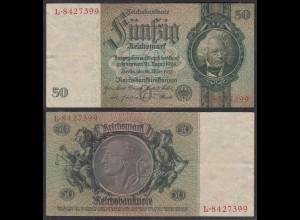 50 Reichsmark 1933 3. Reich Ro 175a Pick 182 VF (3) Udr O - Serie L (29241