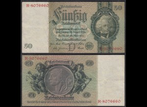 50 Reichsmark 1933 3. Reich Ro 175a Pick 182 VF (3) Udr D - Serie R (29242
