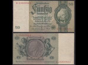 50 Reichsmark 1933 3. Reich Ro 175c Pick 182 VF+ (3+) Udr L - Serie G (29243