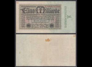 1 Milliarde Mark 1923 Ro 111a Pick 114 VF (3) Serie C (29256