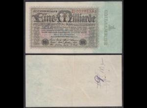 1 Milliarde Mark 1923 Ro 111a Pick 114 VF- (3-) Serie B (29258