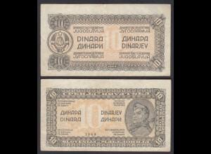Jugoslawien - Yugoslavia 10 Dinara 1944 Pick 50 F/VF (3/4) (29278