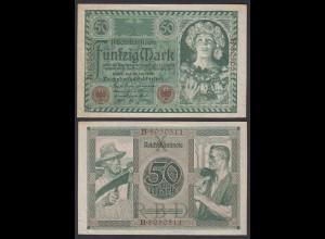 Reichsbanknote 50 Mark 1920 Ro 66 Pick 68 VF/XF (2/3) Udr X Serie: B (29313