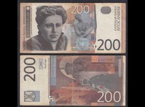 Jugoslawien - Yugoslavia 200 Dinara Banknote 2001 F (4) Pick 157 (29099