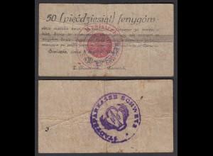 Poland - Poland 50 fenygow 1920 Siwiecie RS Stempel STADTSPARKASSE SCHWETZ