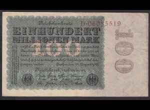 Reichsbanknote - 100 Million Mark 1923 Ro 106a Pick 107 Serie D F (4) (27245