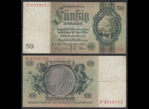 50 Reichsmark 1933 3. Reich Ro 175a Pick 182 VF- (3-) Udr H - Serie F (29382
