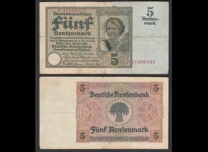 Rentenbankschein 5 Rentenmark 1926 Ro 164b Pick 169 F- (4-) Serie P (29398