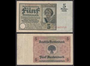 Rentenbankschein 5 Rentenmark 1926 Ro 164b Pick 169 F (4) Serie J (29399