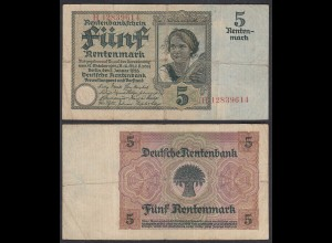 Rentenbankschein 5 Rentenmark 1926 Ro 164b Pick 169 F- (4-) Serie H (29400