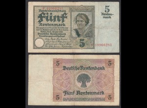 Rentenbankschein 5 Rentenmark 1926 Ro 164b Pick 169 F (4) Serie E (29401