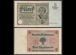 Rentenbankschein 5 Rentenmark 1926 Ro 164b Pick 169 F+ (4+) Serie N (29402