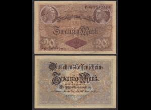 Darlehnskassenschein 20 MARK 1914 - 7-stellig Ro 49b Pick 48 VF (3) Serie P